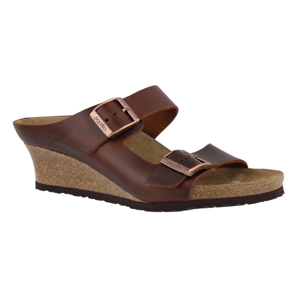 Women's EMINA LTR cognac wedge sandals - Narrow