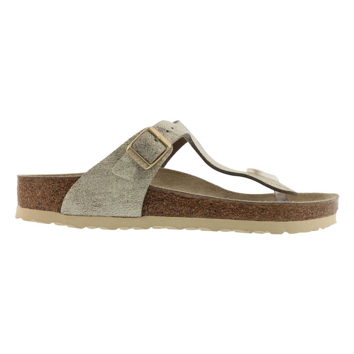 Lds Gizeh LTR wshd mtlc crm gld sandal