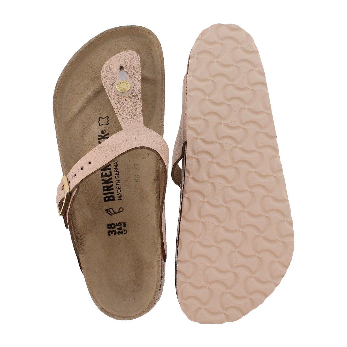 Lds Gizeh LTR wshd mtlc rse gld sandal