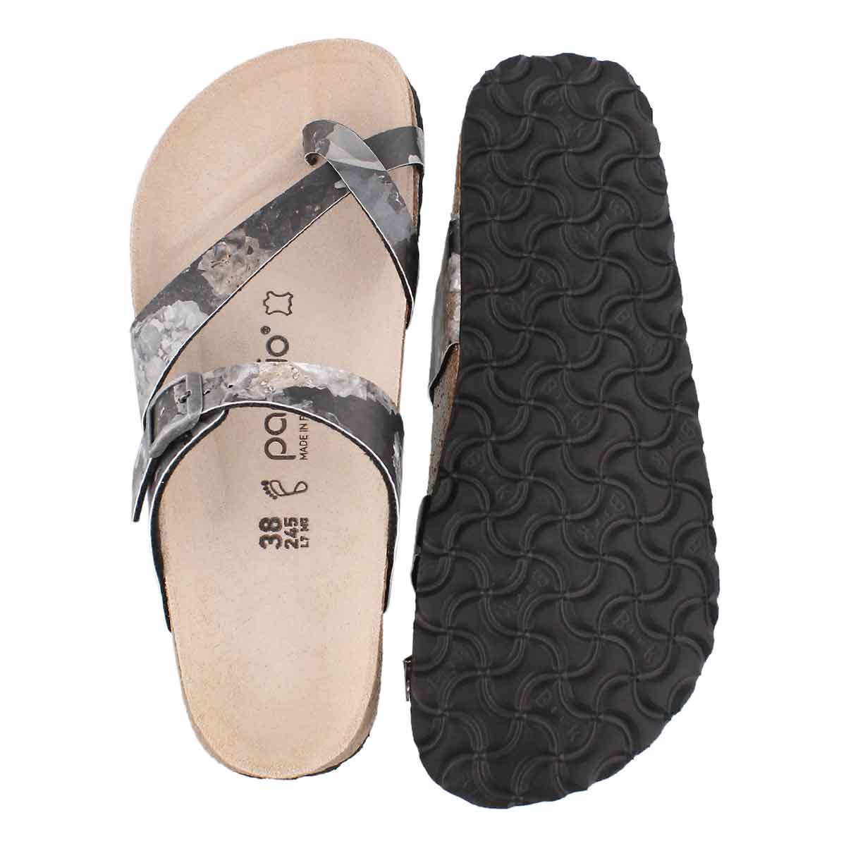 Lds Tabora BF cryst blk toe thong sndl