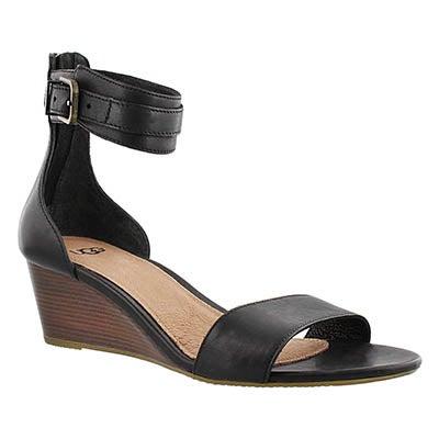 UGG Australia Women's CHAR black wedge ankle strap sandals