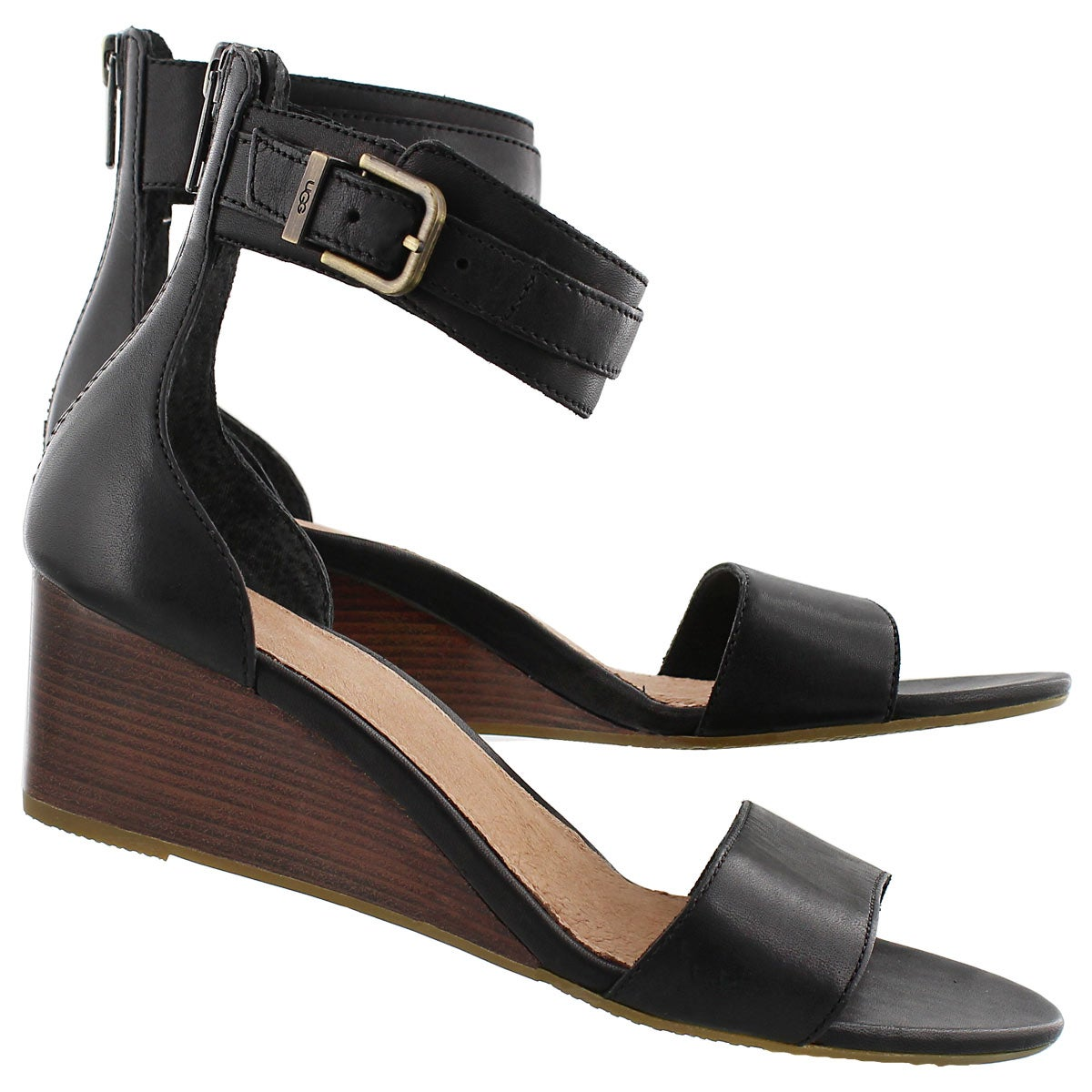 Lds Char black wedge ankle strap sandal