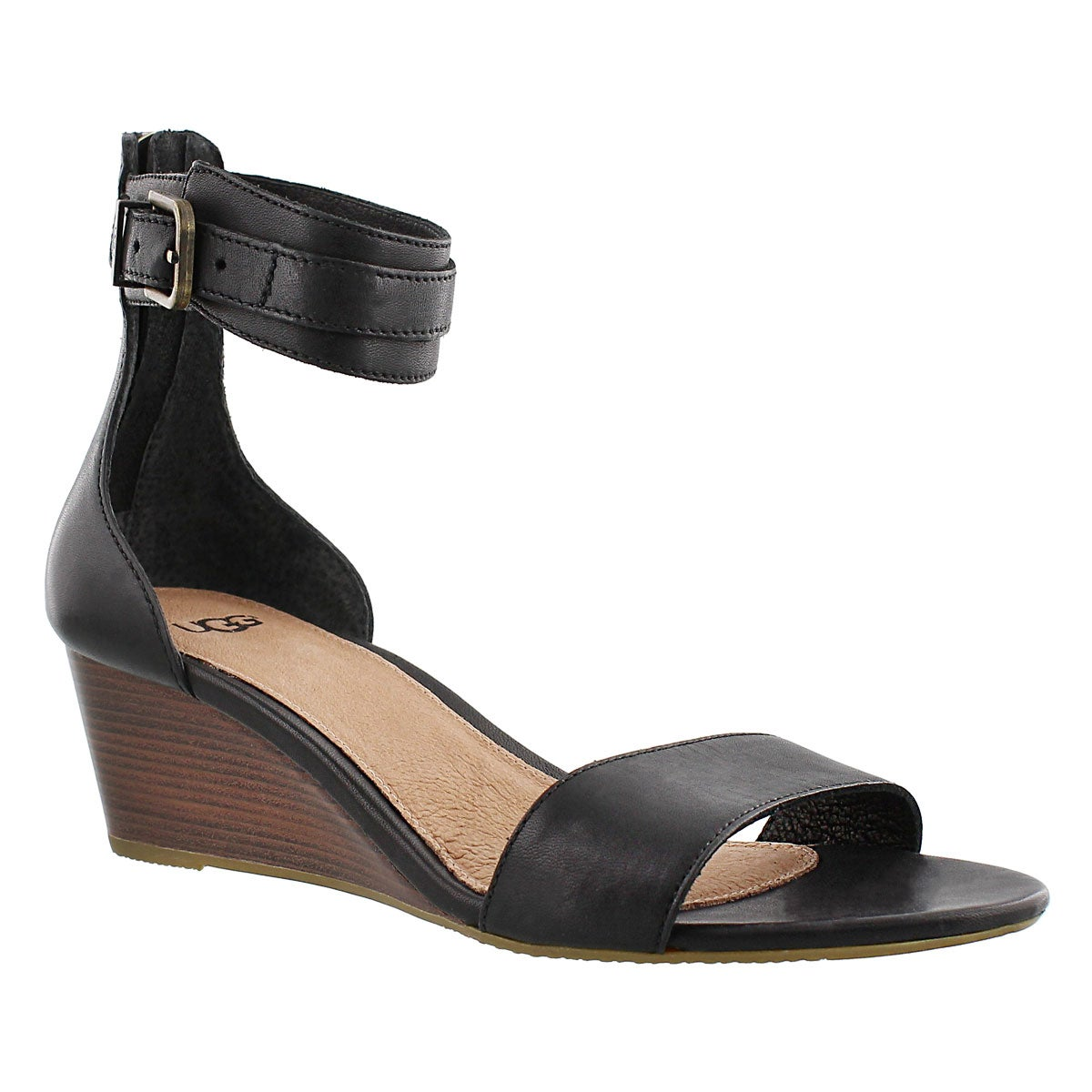 Women's CHAR black wedge ankle strap sandals