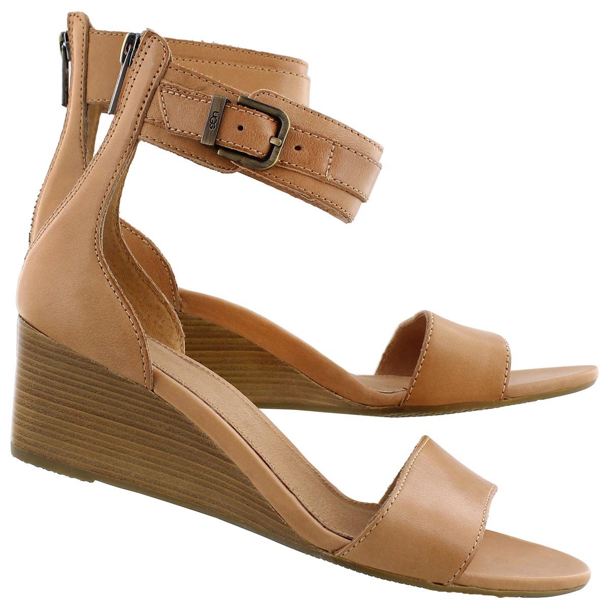 Lds Char suntan wedge ankle strap sandal