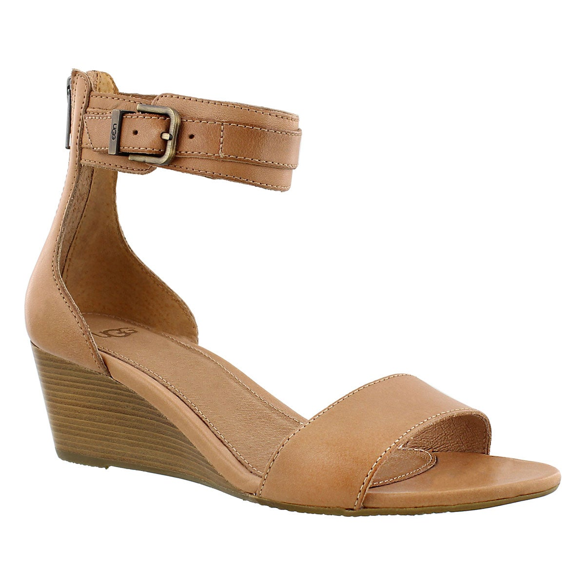 Women's CHAR suntan wedge ankle strap sandals