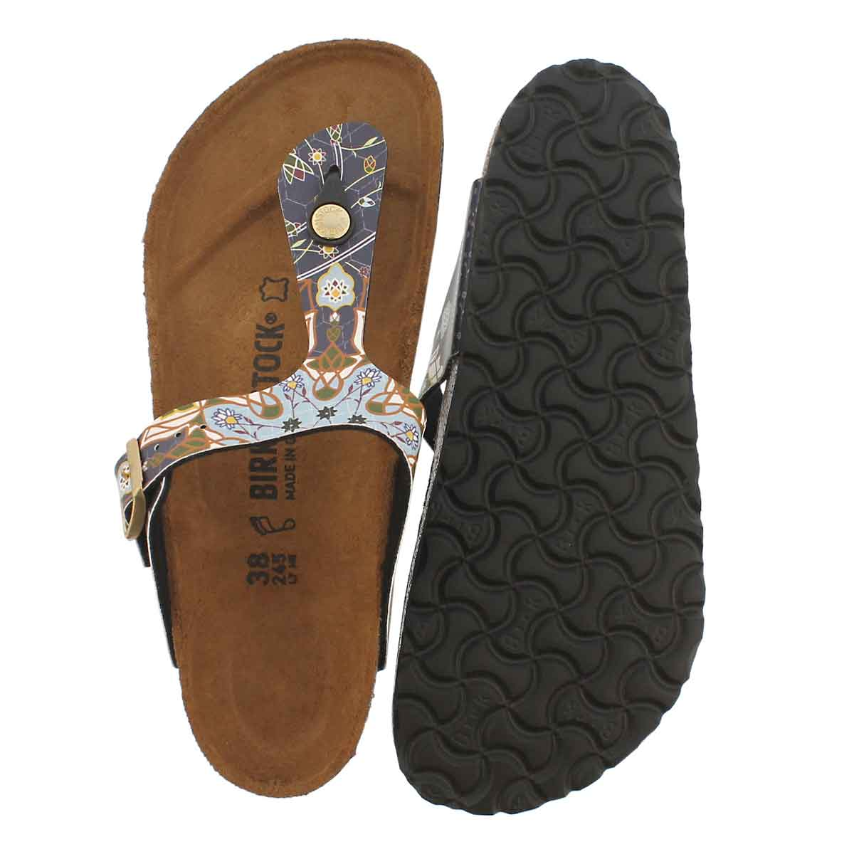 Lds Gizeh BF ancient mosaic blue sandal