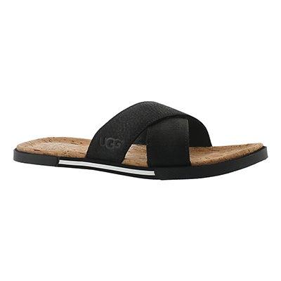 Mns Ithan Cork black leather sandal