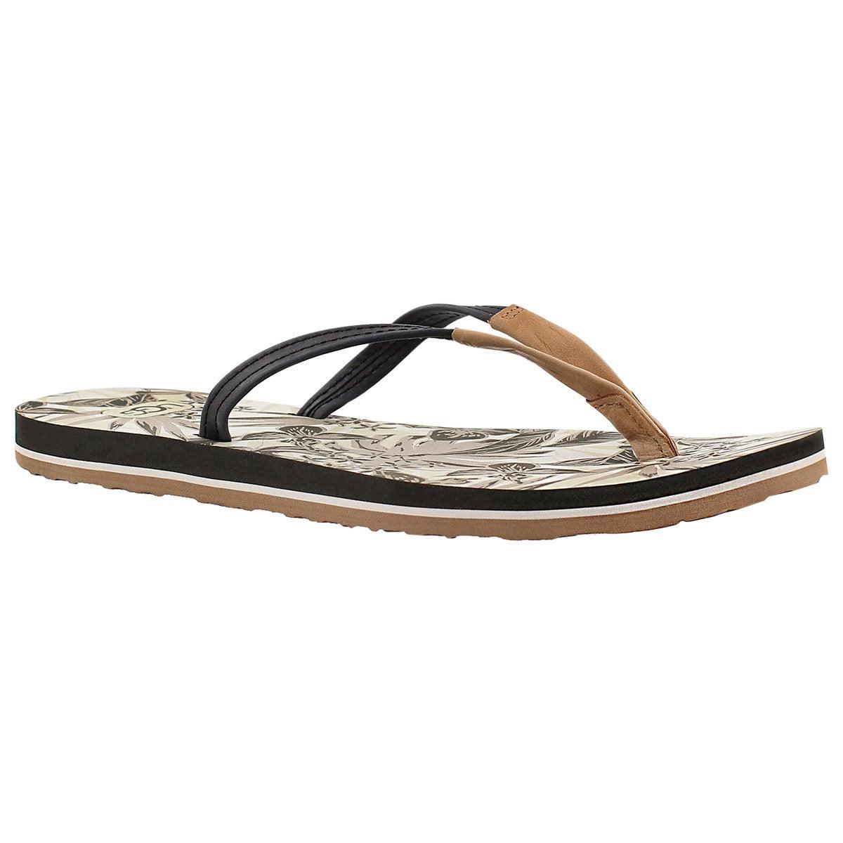 Women's MAGNOLIA ISLAND FLORAL black flip flops