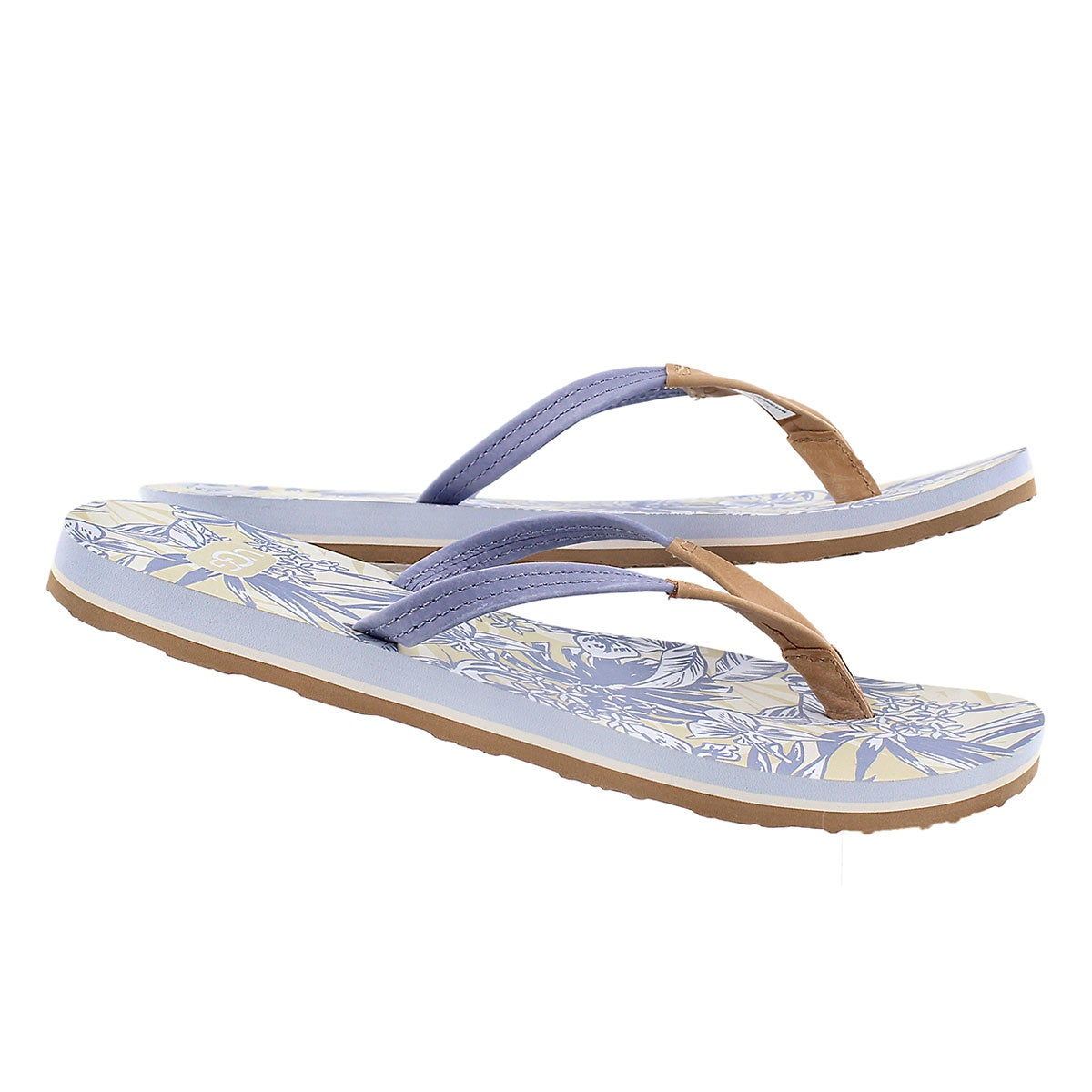 Tong Magnolia Island Floral, bleu, femme