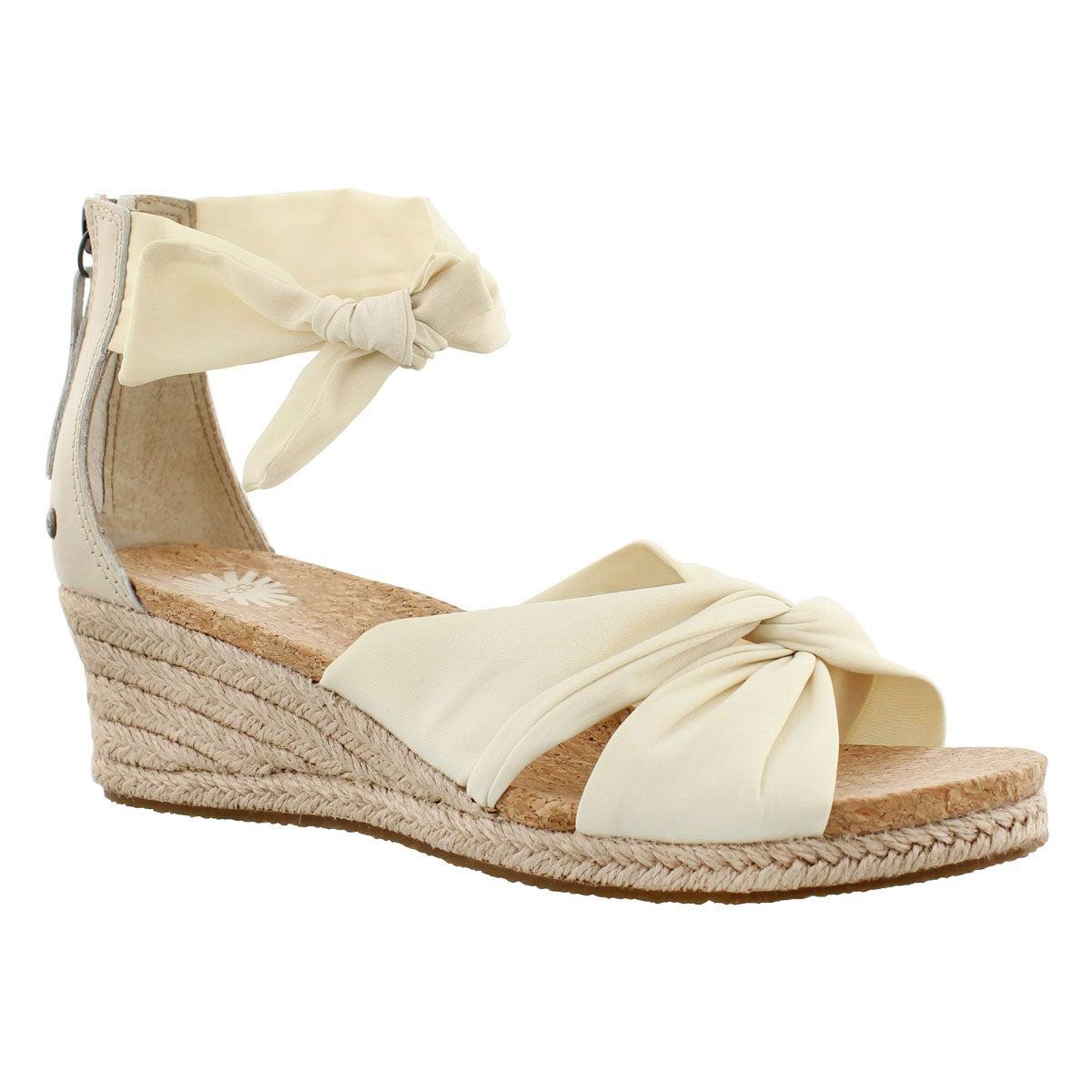 Lds Starla cream fabric wedge sandal