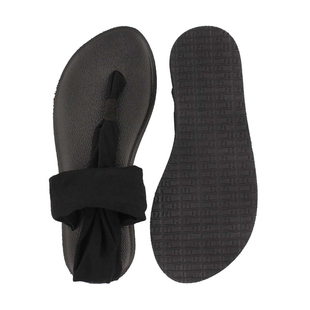Grls Yoga Sling Burst black thong sandal