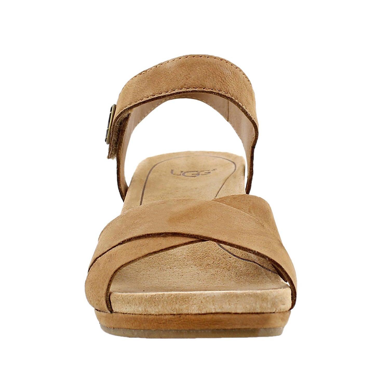 Sandale à talon comp. Veva, châtain, fem