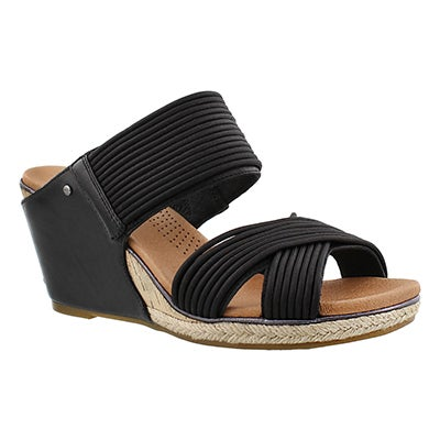 Lds Hilarie black wedge slide sandal