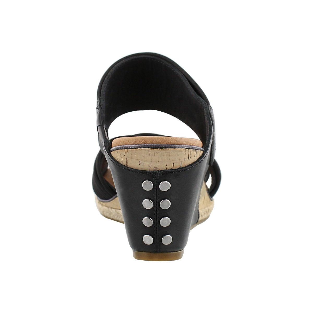 Lds Hilarie black wedge slide sandal