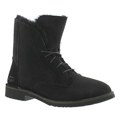 UGG Australia Women's QUINCY black lace up sheepskin boots