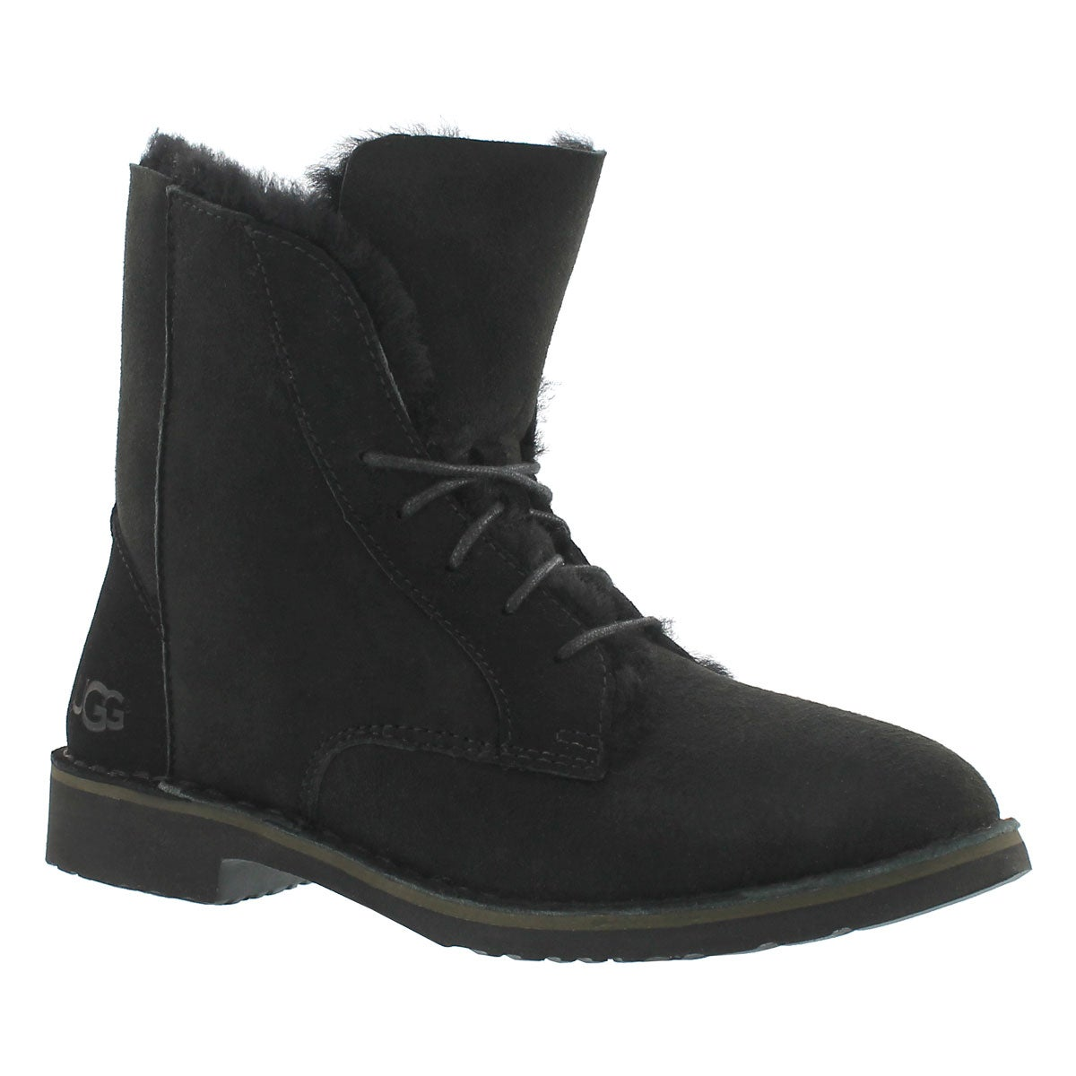 Lds Quincy black lace up sheepskin boot