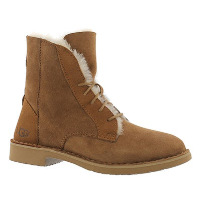 UGG Australia Women's QUINCY chestnut lace up sheepskin boots