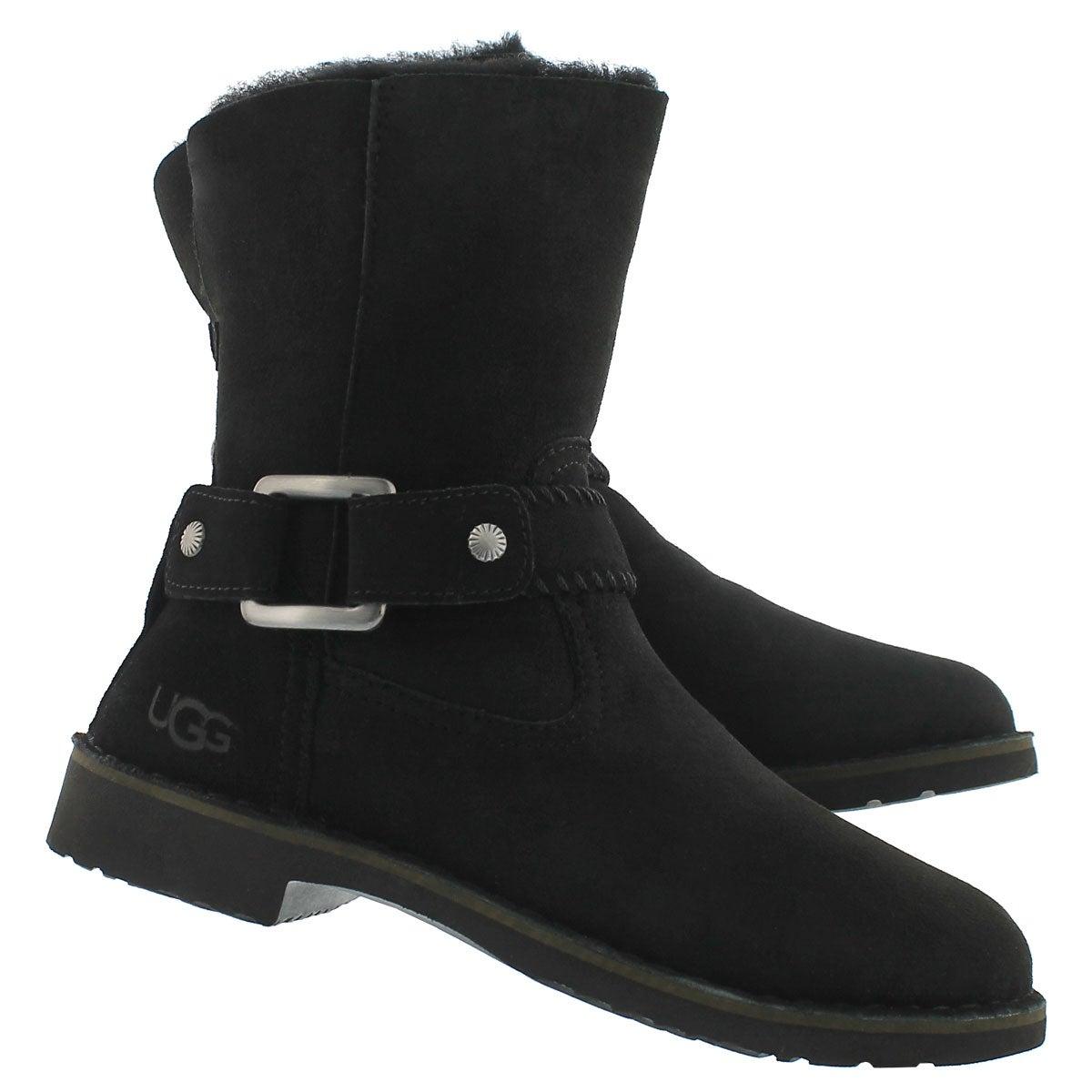 Lds Cedric blk fold down sheepskin boot