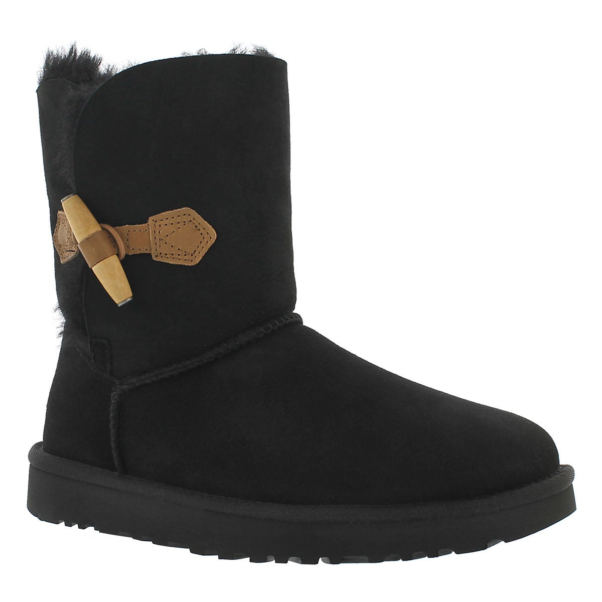 Women's KEELY black sheepskin toggle boots