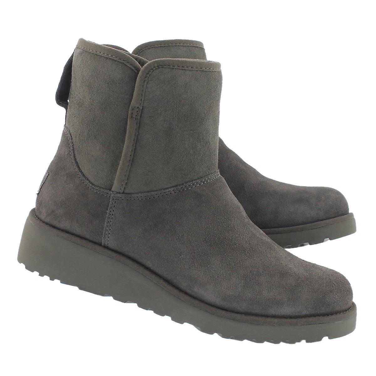 Lds Kristin grey wedge sheepskin boot
