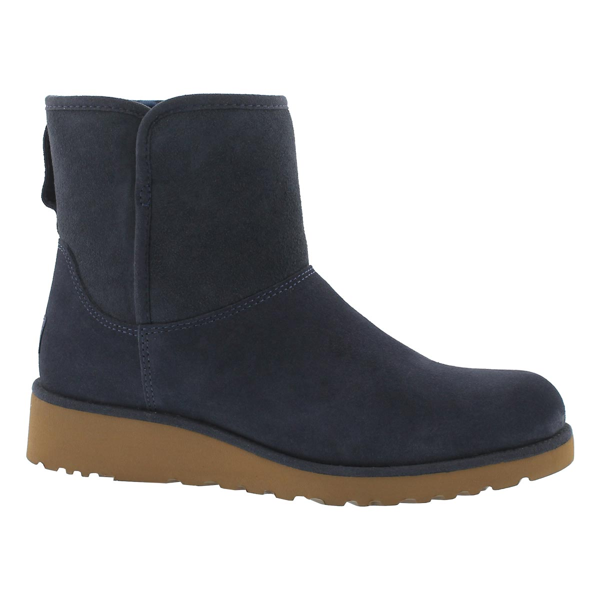 Women's KRISTIN navy wedge sheepskin boots