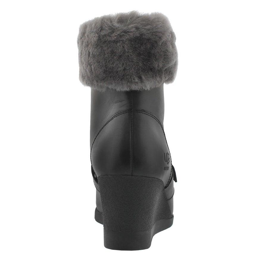 Lds Janney blk fur cuff wedge boot