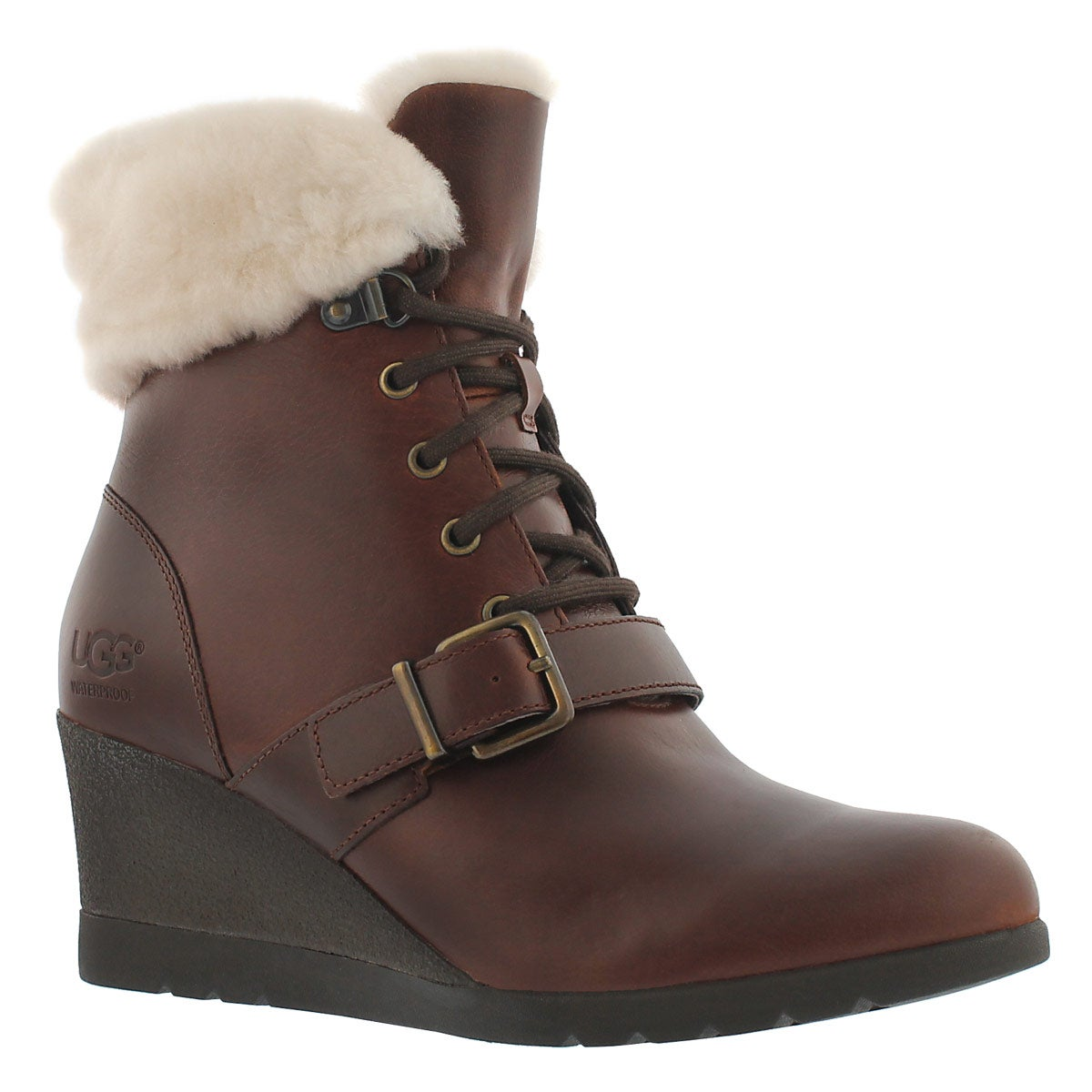 Women's JANNEY stout fur cuff wedge boots