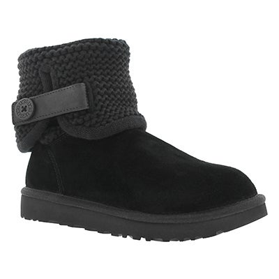 UGG Australia Women's SHAINA black knit folded collar boots