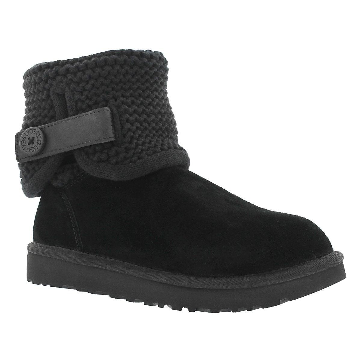 Lds Shaina blk knit folded collar boot