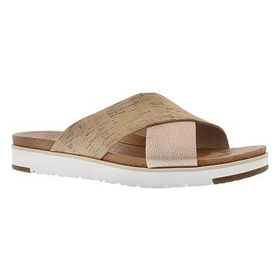 Lds Kari cork/rose casual slide sandal