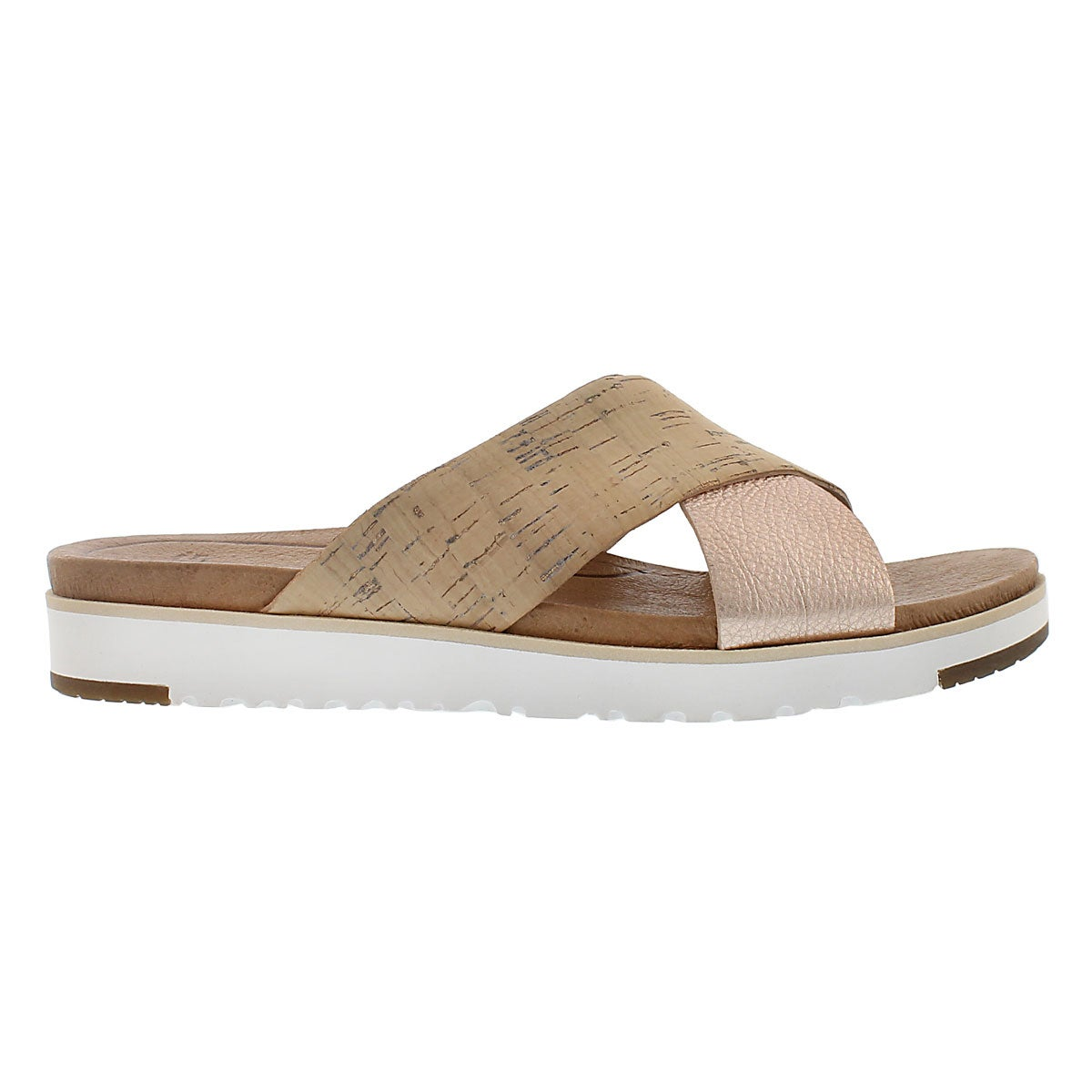 Lds Kari cork/rose casual slide sandal