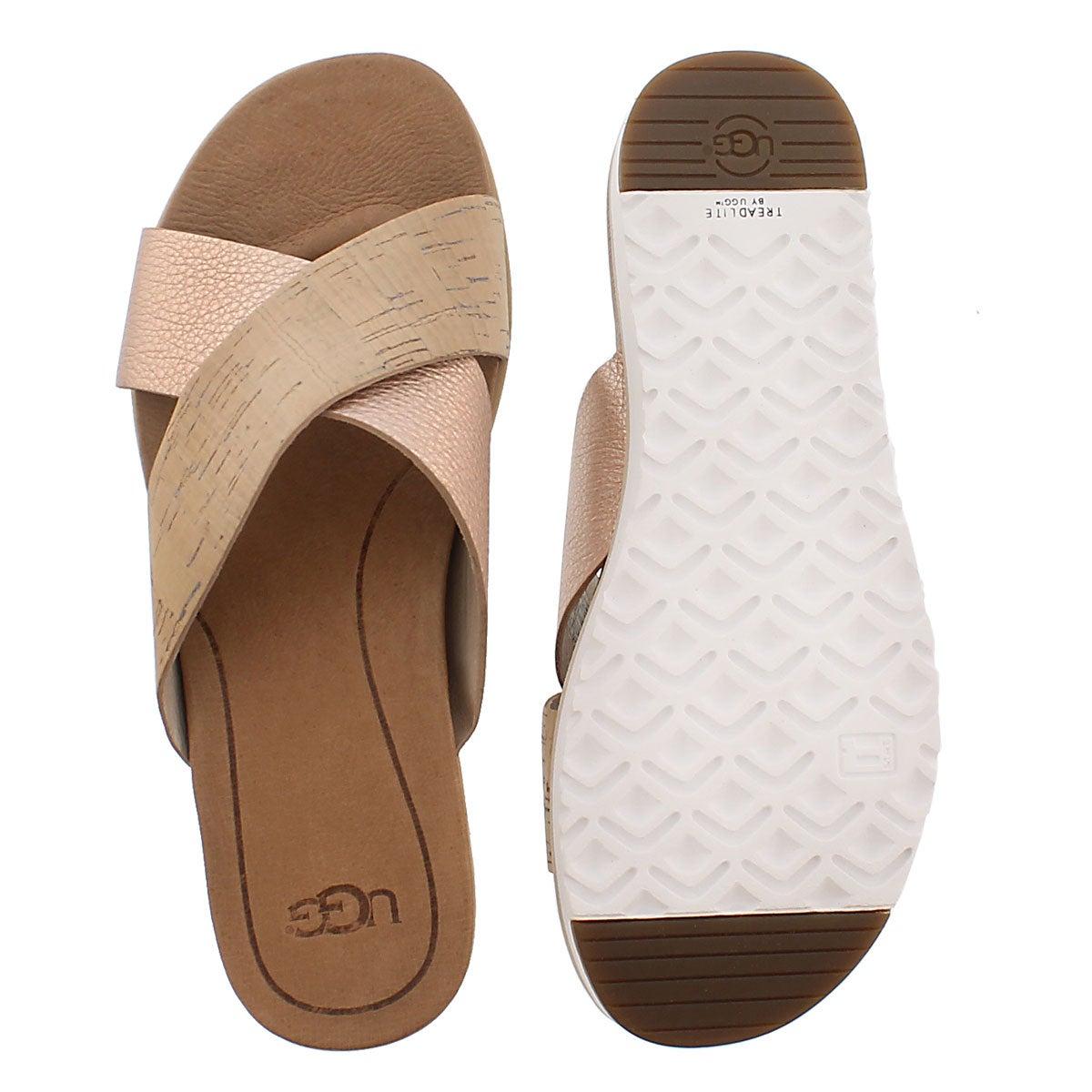 Sandale à enfiler Kari, liège/rose, fem