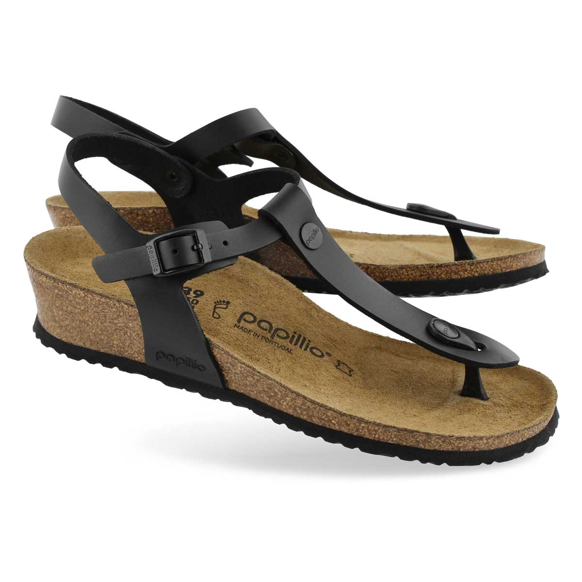 Lds Ashley LTR black wedge thong sandal