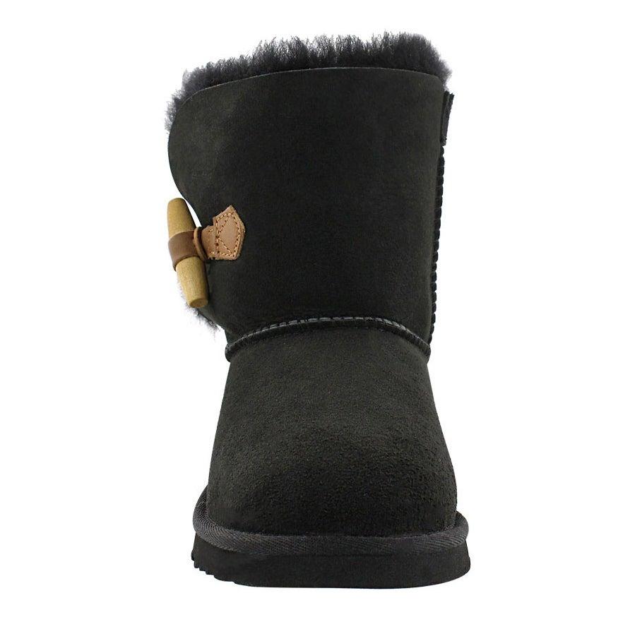 Grls Ebony black sheepskin toggle boot