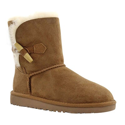 UGG Australia Girls' EBONY chestnut sheepskin toggle boots