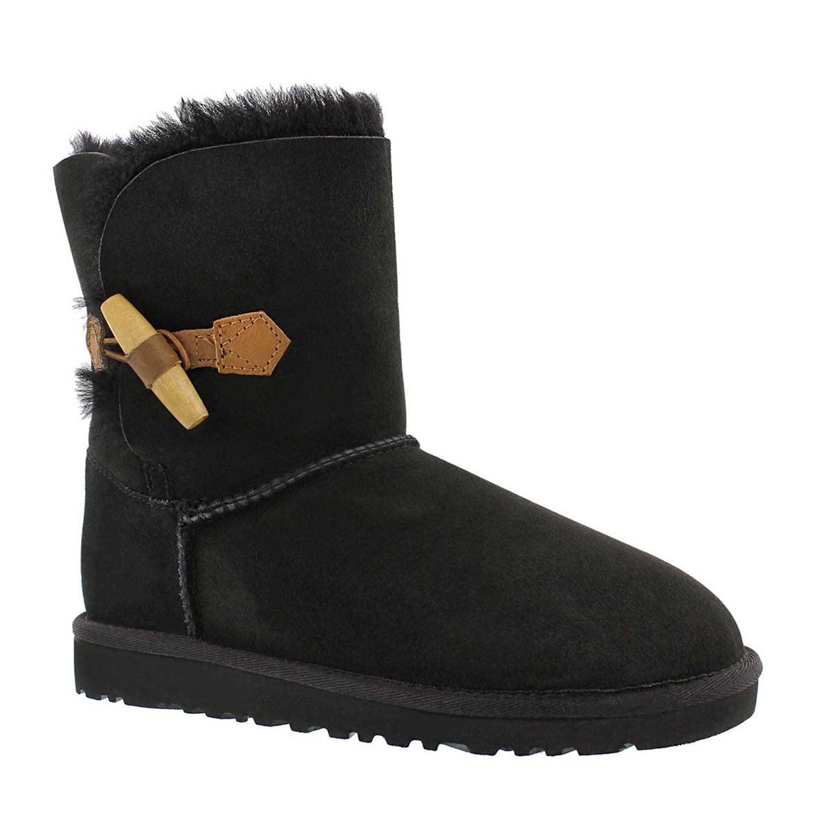Girls' EBONY black sheepskin toggle boots