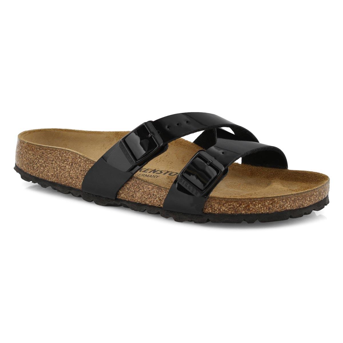 Lds Yao BF pat blk 2 stap sandal-Narrow