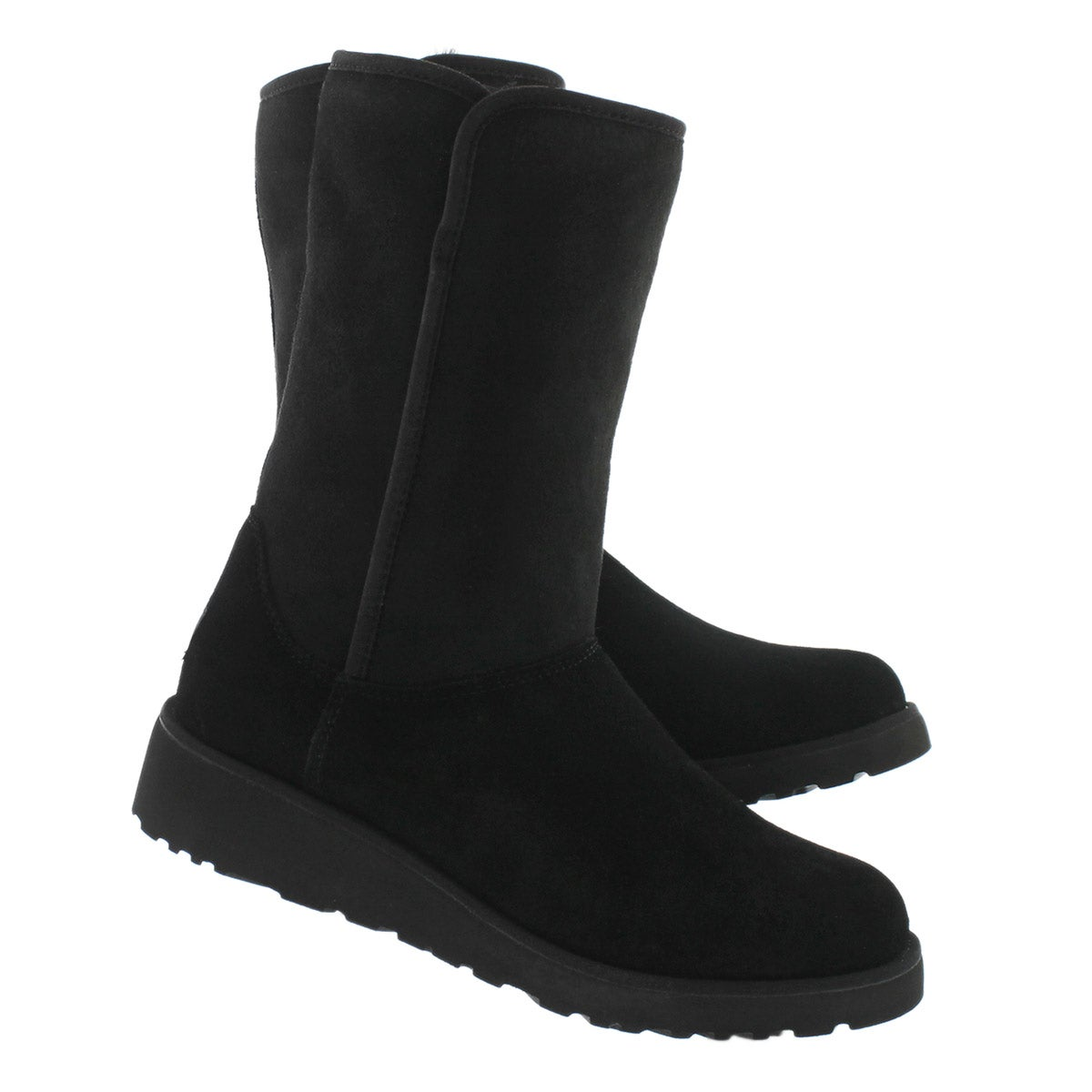 Lds Amie black wedge tall sheepskin boot