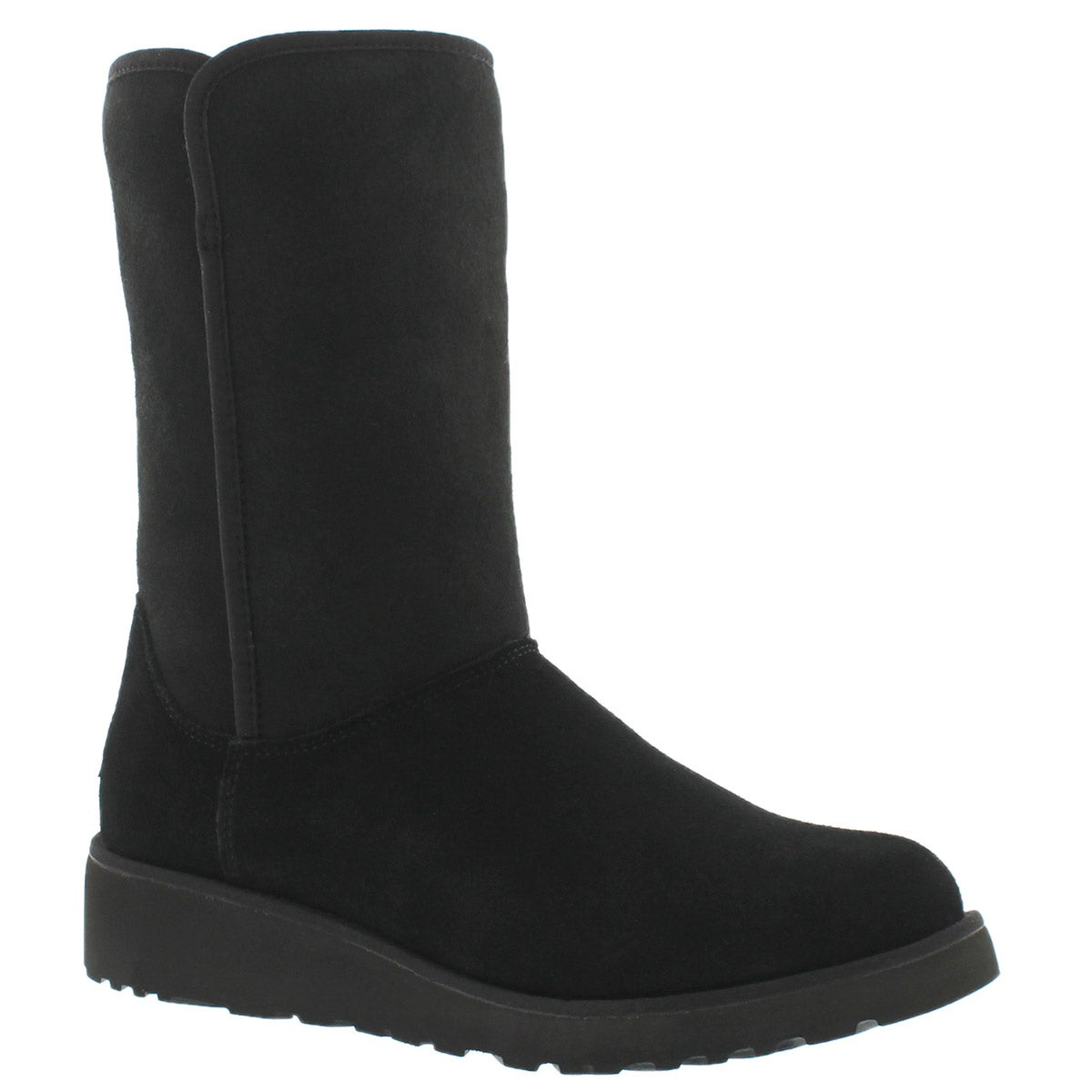 Women's AMIE black wedge tall sheepskin boots