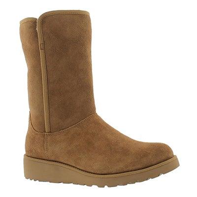UGG Australia Women's AMIE chestnut tall wedge sheepskin boots