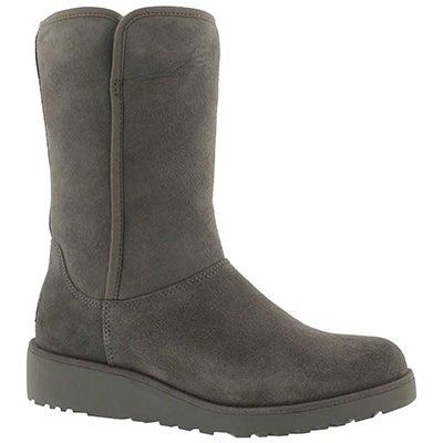 Lds Amie grey tall wedge sheepskin boot