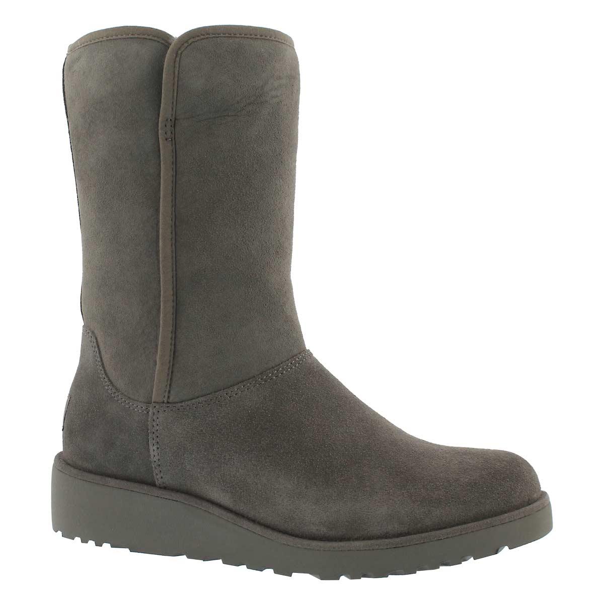 Women's AMIE grey tall wedge sheepskin boots