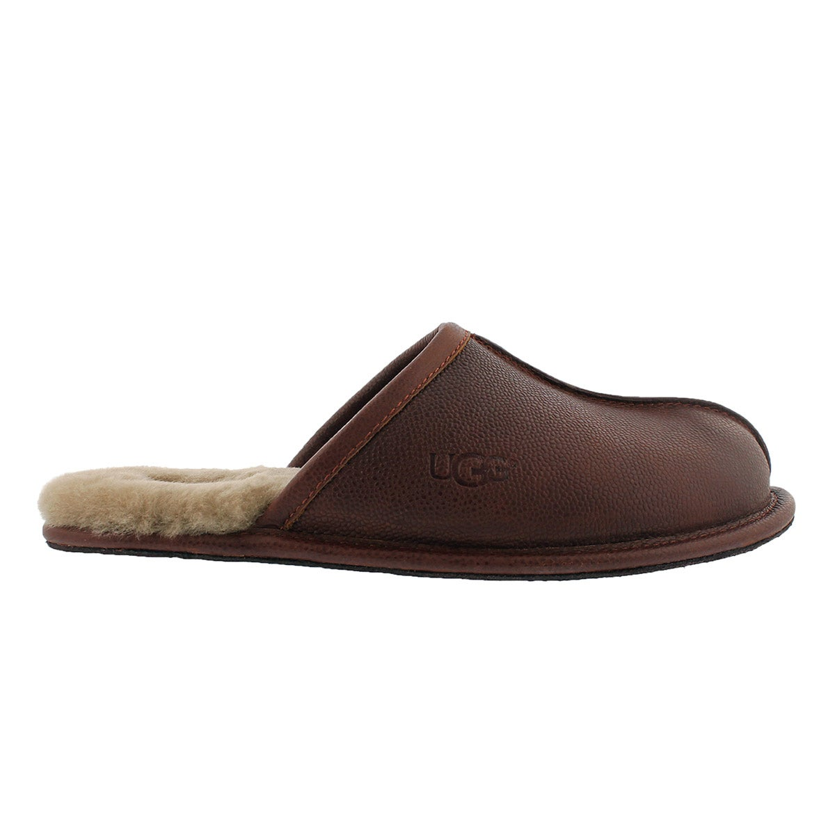 Mns Scuff Scotch Grain cognac slipper
