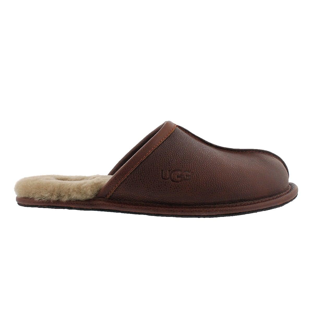 Mns Scuff Scotch Grain cognac slipper