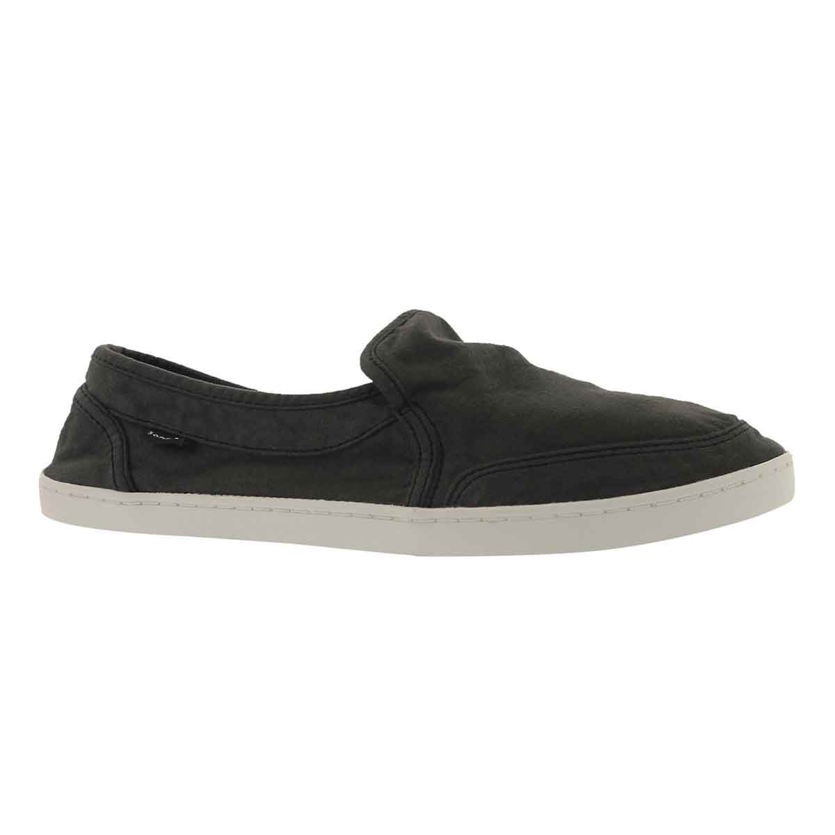 Lds Pair O Dice washed blk slip on shoe