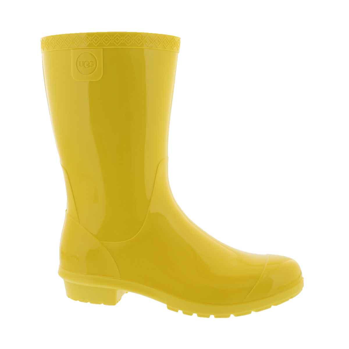 Girls' RAANA lemon yellow waterproof rain boots