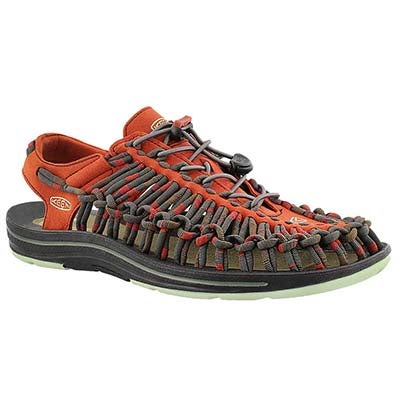 Keen Men's UNEEK STRIPES red fisherman sandals