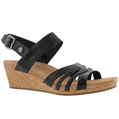 Lds Serinda black ankle strap wedge sndl