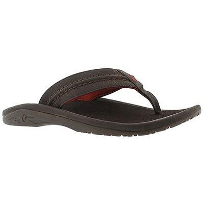 OluKai Men's HOKUA dark java thong sandals