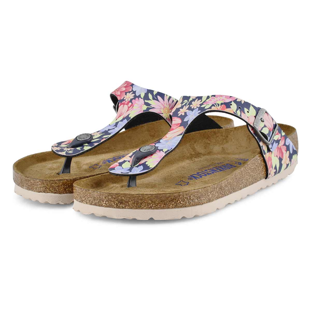 Lds Gizeh Soft BF flower/nvy thong sndl
